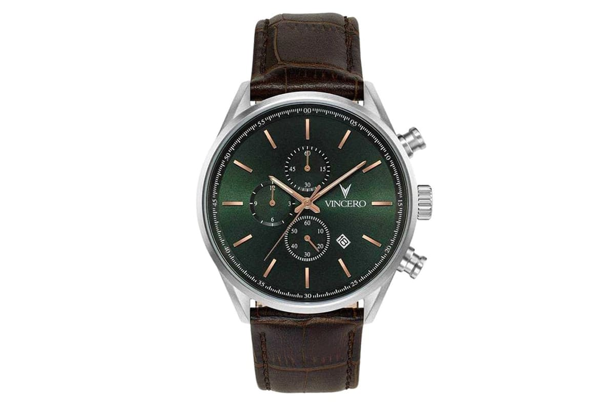 best vincero watches number 10 chrono s in dark olive and silver