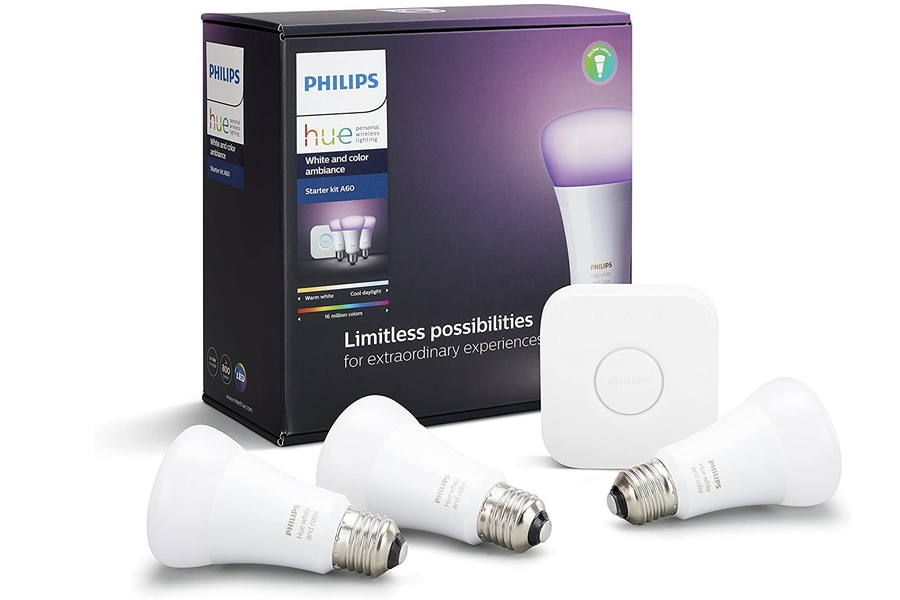 Philips Hue White and Colour Ambiance Smart Bulb Starter Kit