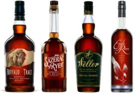 Bottles of Buffalo Trace whiskey