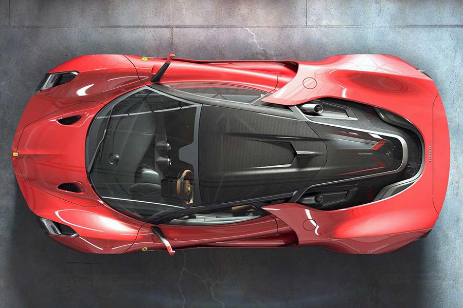 Futuristic Hypercar Concept top view