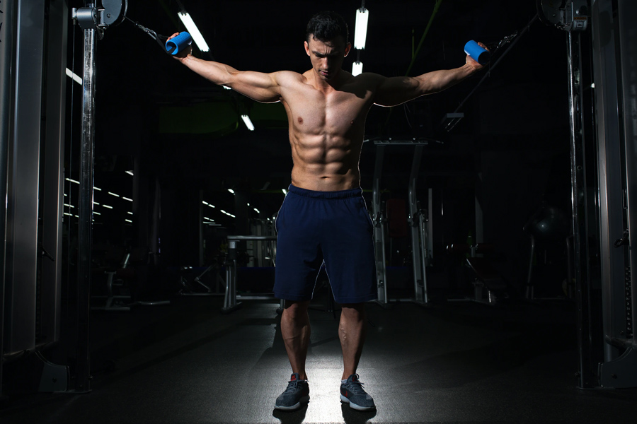 A bodybuilder working out