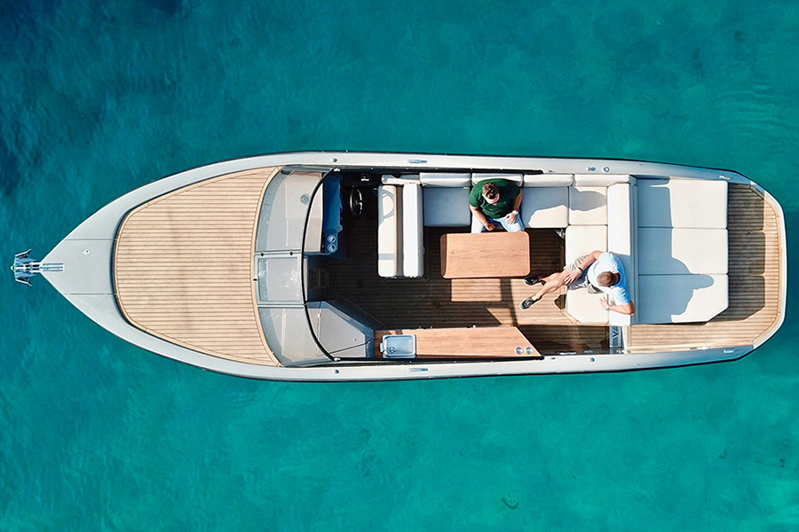 Rand Leisure 28 Electric Boat aerial view