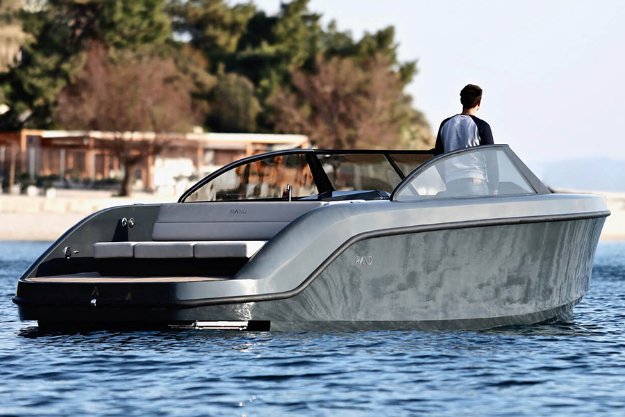 Rand Leisure 28 Electric Boat back view