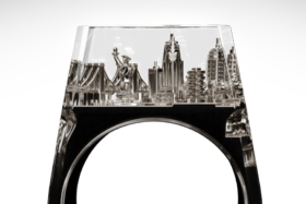 A nickel Teti Ring with New York