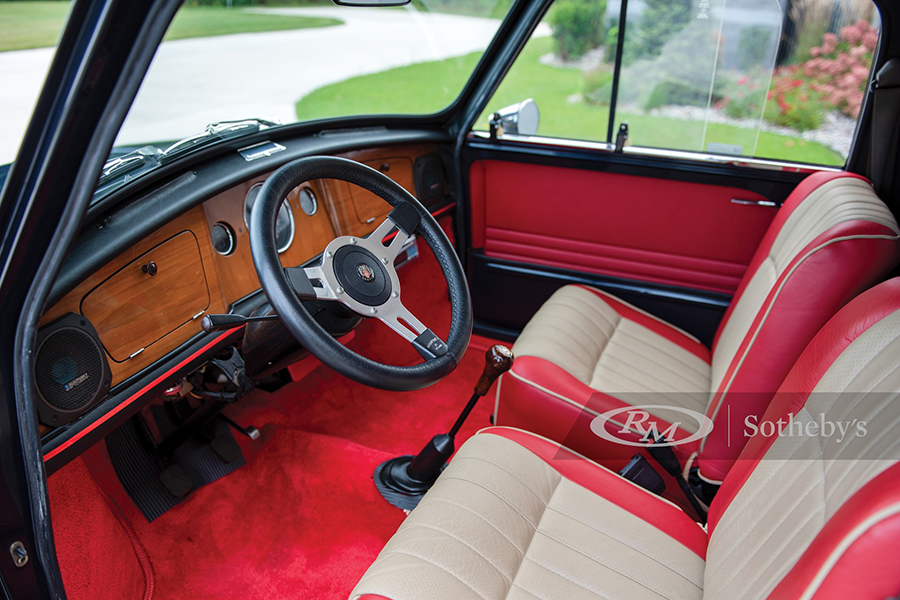 1972 Austin Mini Pickup Truck dashboard and car seat upholstery