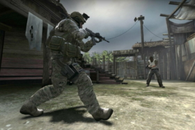A screen from a shooting game