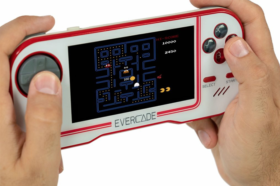 playing Evercade Retro Games Console