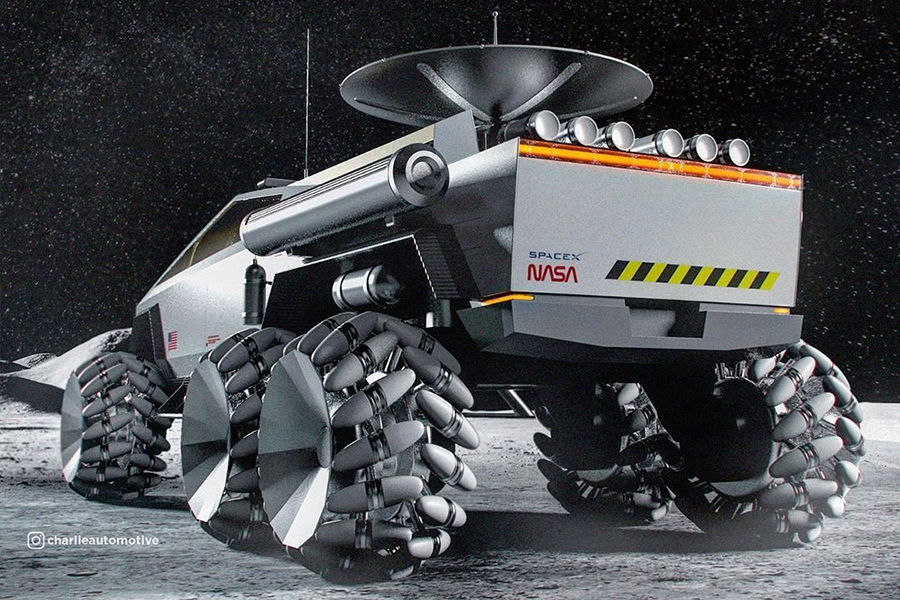 Cyber Truck for the Moon back view