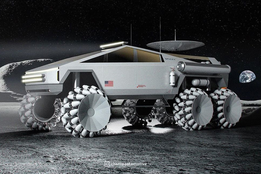 Cyber Truck for the Moon side view