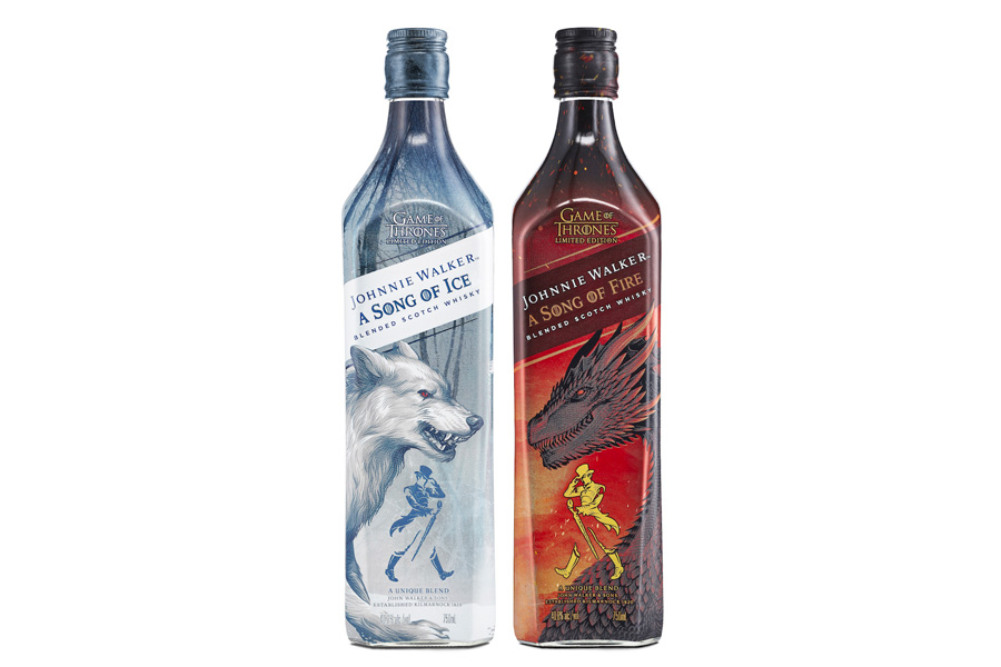 Bottles of Johnnie Walker A Song of Ice and A Song of Fire whiskey