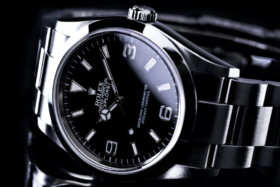 Rolex Oyster Perpetual Explorer on its side