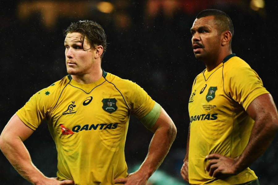 Two Australia Rugby players standing