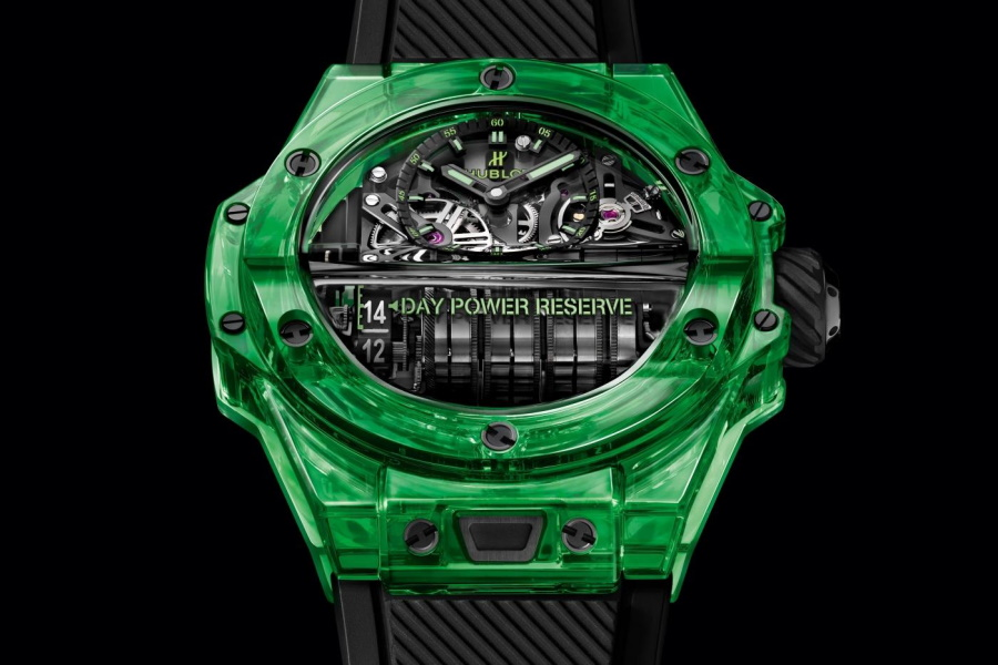 Dial of HublotBig Bang MP-11 Green Saxem watch