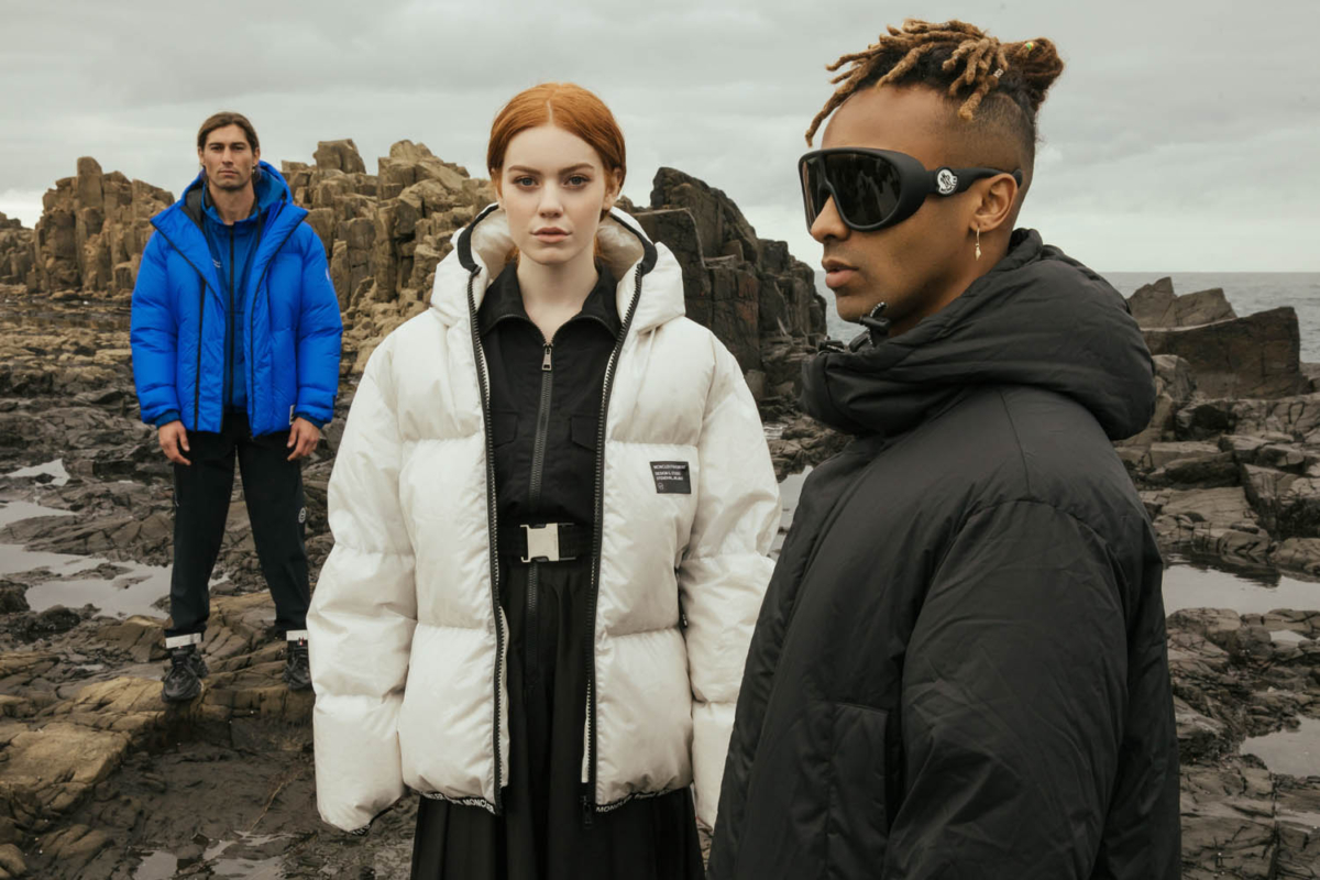 Three models in puffer jackets and clothes from Moncler's FRAGMENT Collection