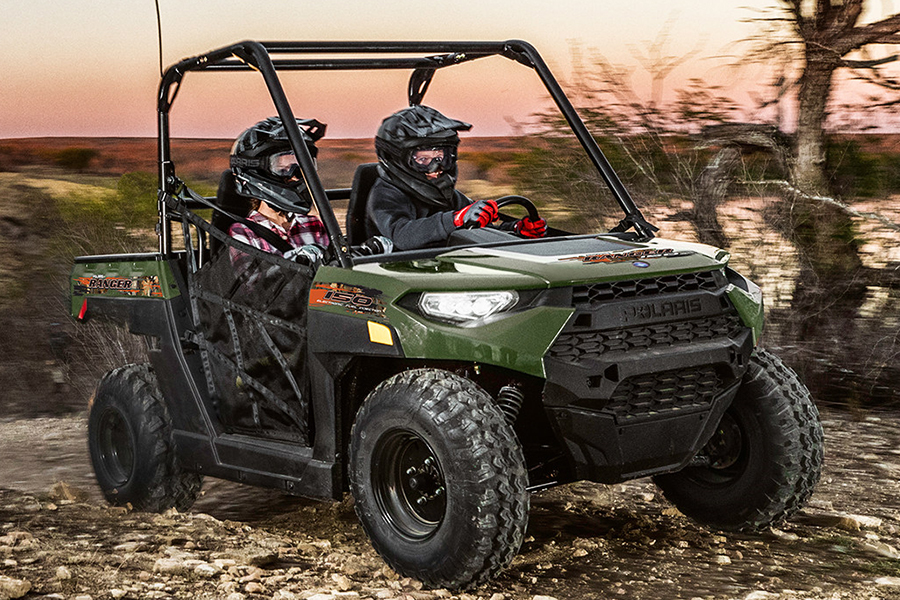 Polaris' Ranger Youth Side-By-Side ATV on the road