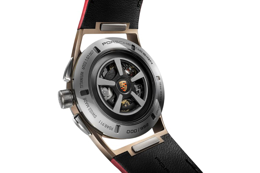 Porsche Design builds the perfect watch for the 911 Targa 4S back of the watch