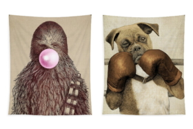 Chewbacca with bubble gum and a bulldog with boxing gloves tapestries