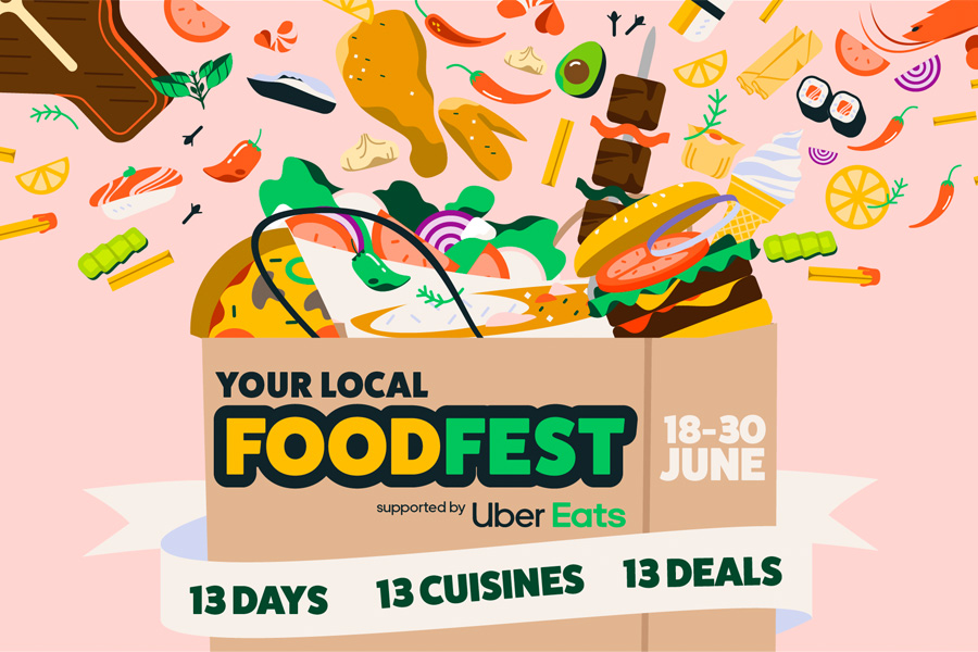 Graphic of Your Local Food Fest sponsored by Uber Eats
