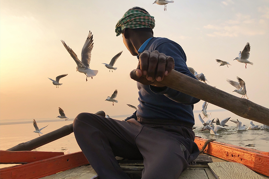 A low-angle shot of a boat rower looking towards water with birds flying in background by Kristian Cruz