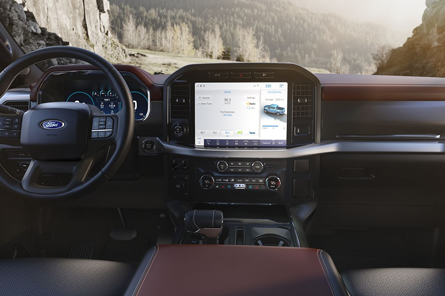 Ford's 2021 F-150 dashboard and steering wheel