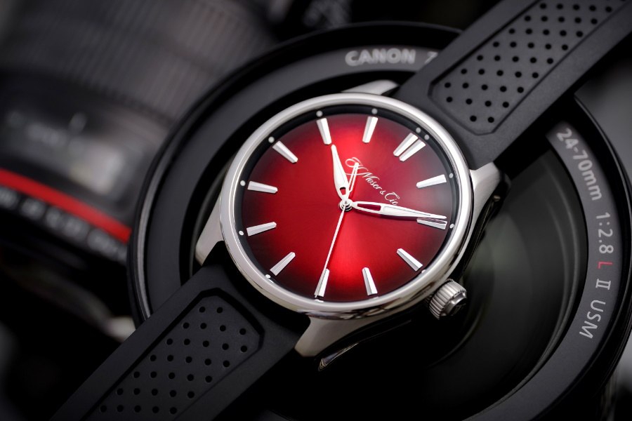 h. moser swiss red watch