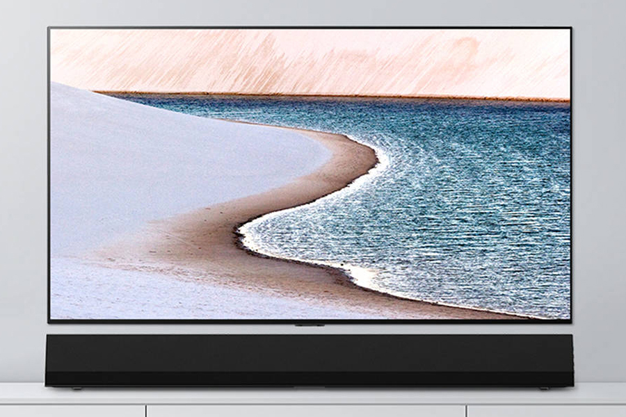 LG GX Soundbar below the TV