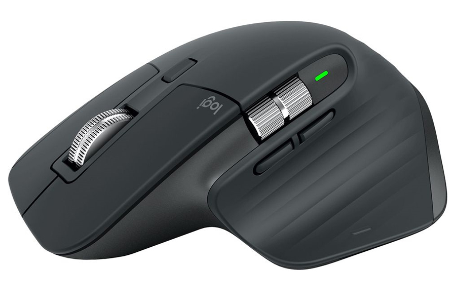 Logitech MX Master 3 and MX Keys for Mac mouse side view