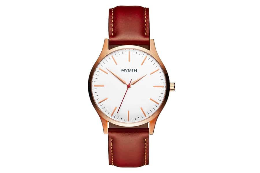 MVMT Rose Gold Watch with Natural Tan leather strap