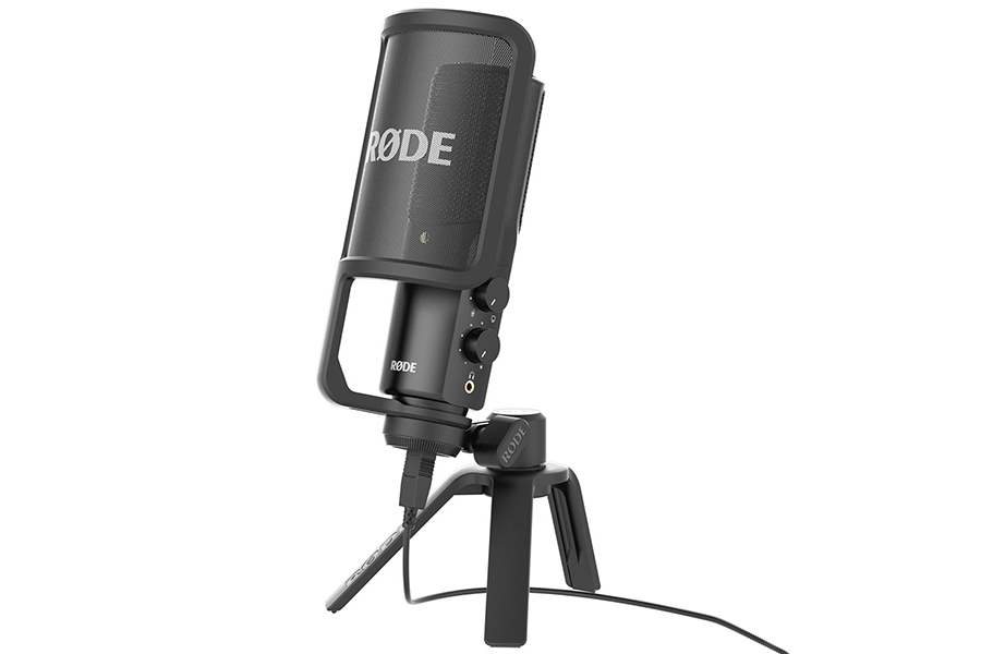 Rode NT-USB Microphone front in stand
