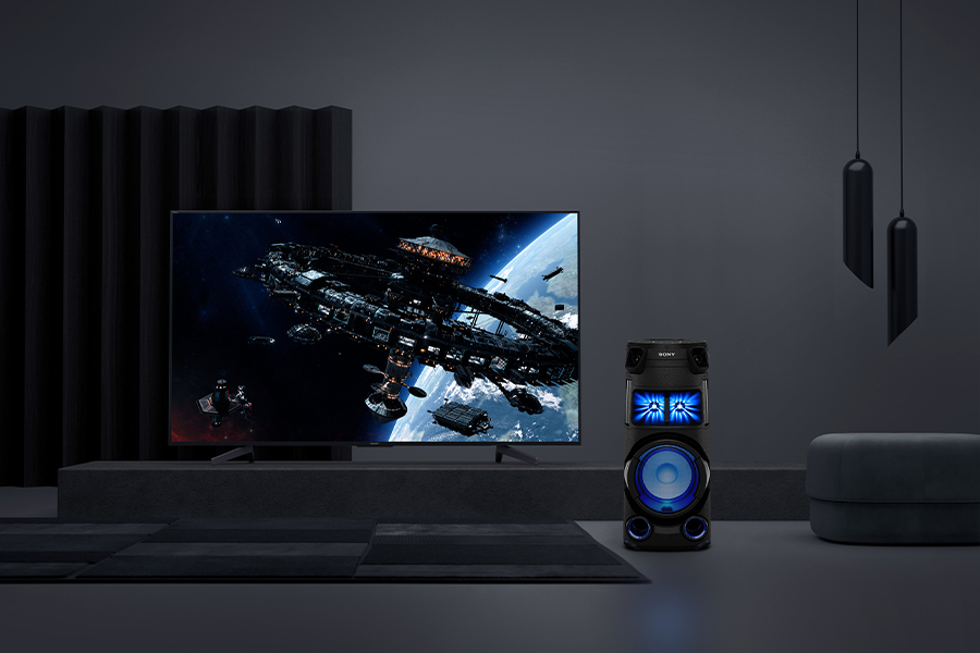 Sony High Power Audio system next to a TV