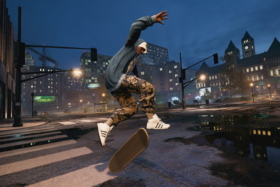 A skater in air from Tony Hawk Pro Skater game