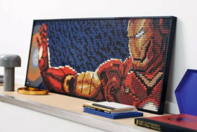 LEGO ART poster of Iron Man holding his palm out to shoot