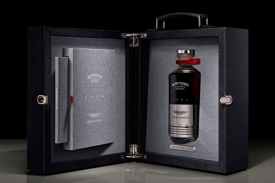 Aston martin x Bowmore Whisky inside the box