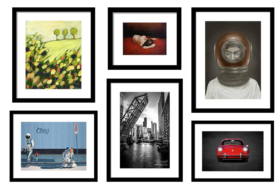 A wall with framed art from FAA