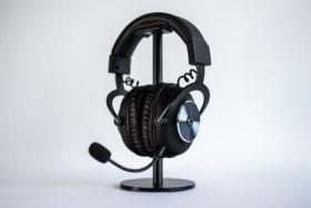 Logitech Pro X wirless gaming headset in stand