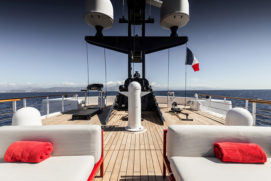 Russian Navy Ship converted to Superyacht lounge in view deck