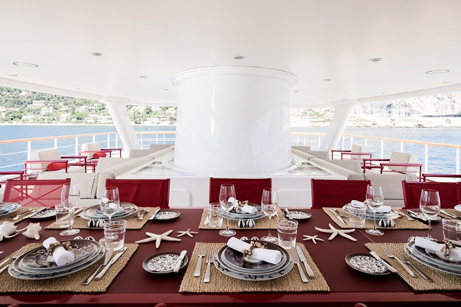 Russian Navy Ship converted to Superyacht dining