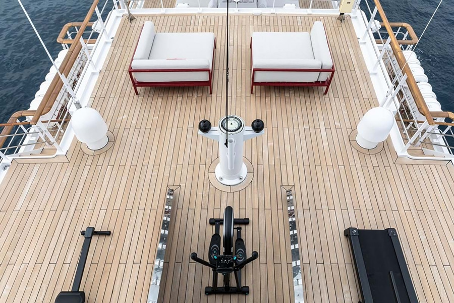 Russian Navy Ship converted to Superyacht top view deck