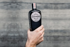 A hand holdingScapegrace Gin bottle
