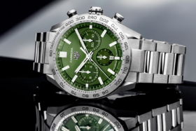 TAG Heuer Carrera Green dial stainless steel watch