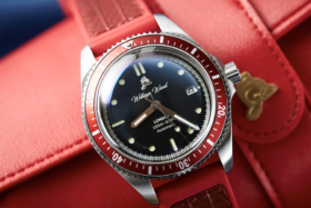 William Wood Valiant watch with black dial and red bezel