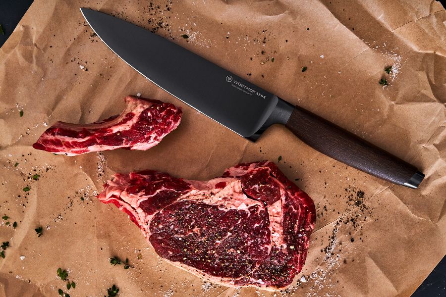 WÜSTHOF AEON kitchen knife and sliced meat