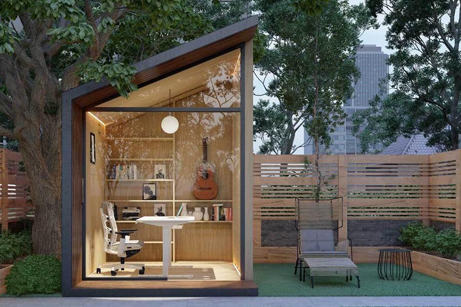 Zen Prefab Work Pod garden view