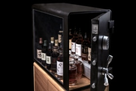 Three quarters front of an openedBulletproof Whisky Vault