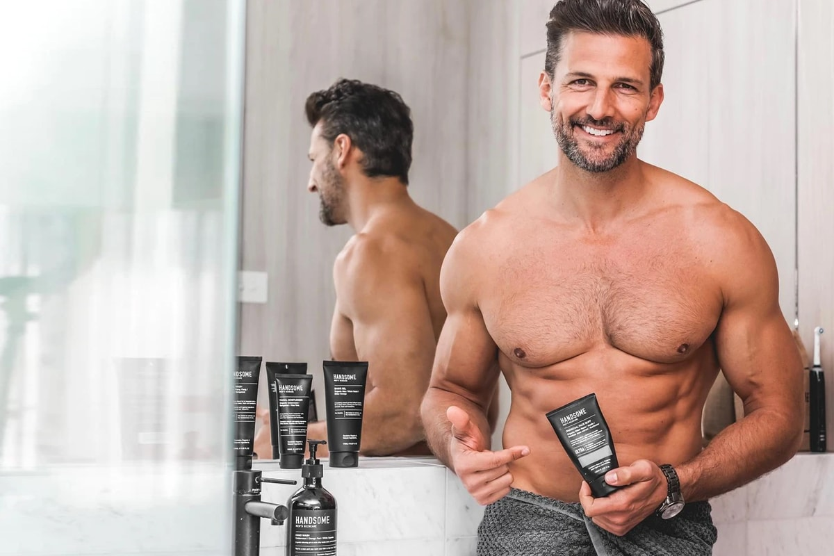 Handsome mens skincare