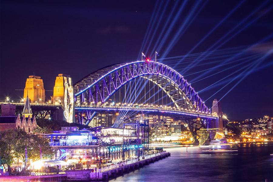 Lights on Sydney Harbour Bridge