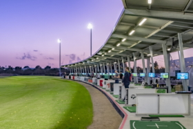 A golf driving range with shade