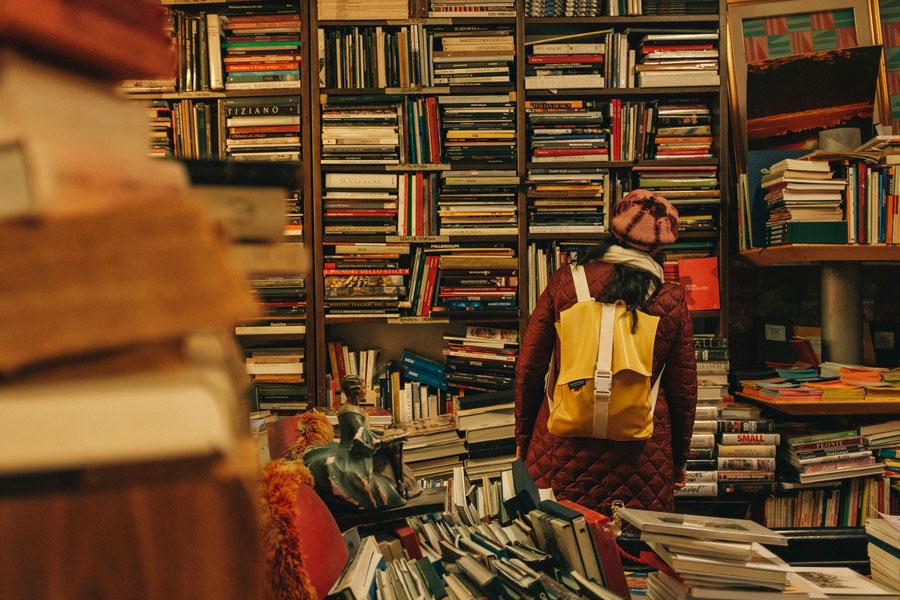 A customer at City Basement Books