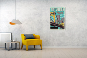 """""""Pittsburgh America's Most Lovable City"""" poster on a wall"""