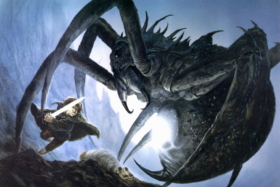 Jacquet Droz art of a warrior fighting a giant spider